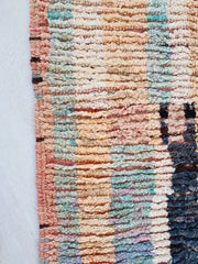 Eru Abstract One of a Kind Faded Pastel Moroccan Wool Runner Rug - Lustere Living