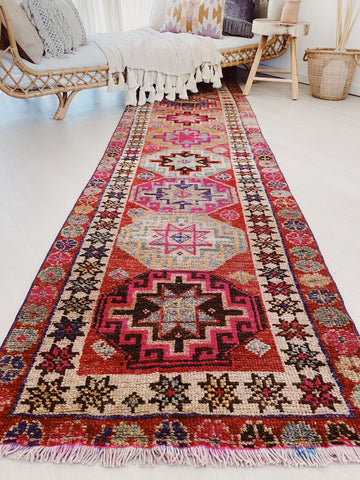 Margot Vintage Coral Red PInk Handwoven Turkish Hallway Kitchen Runner Rug - Lustere Living