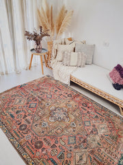 Kasa Blush Taupe Faded One of A Kind Handwoven Turkish Rug - Lustere Living