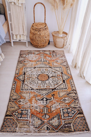 Lima Faded Apricot Orange Vintage Turkish Runner Rug - Lustere Living