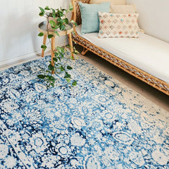ARIA OVERDYED BLUE HAMPTON VINTAGE LOOK AREA RUG 160X243 CM - Lustere Living