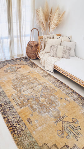 Salva Faded Sand Taupe Medalion Turkish Vintage Runner Rug - Lustere Living