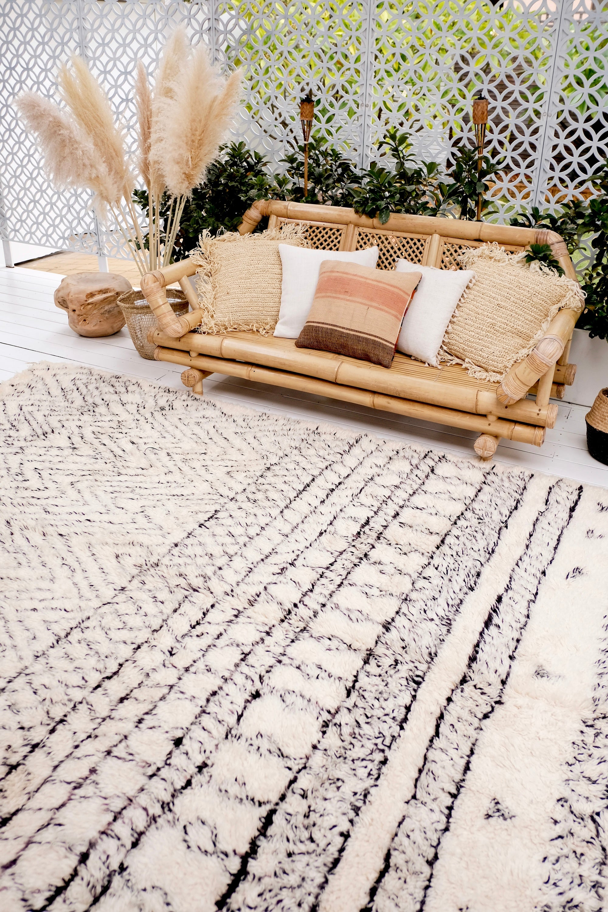Bara Thick Beni Ourain Ivory Black Vintage Moroccan Wool Rug - Lustere Living