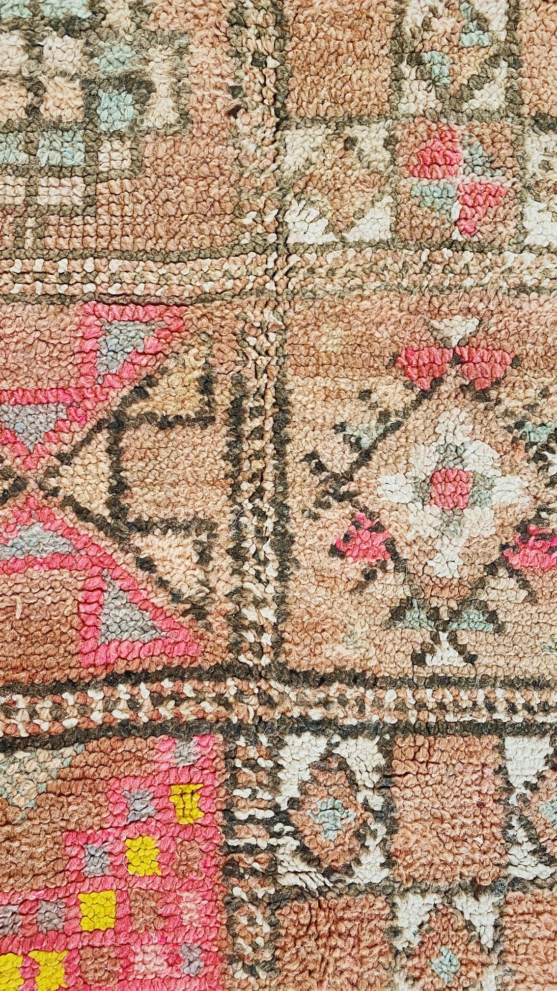 Eames Faded Blush Taupe Pink Vintage Boujad One Of A Kind Moroccan Rug - Lustere Living