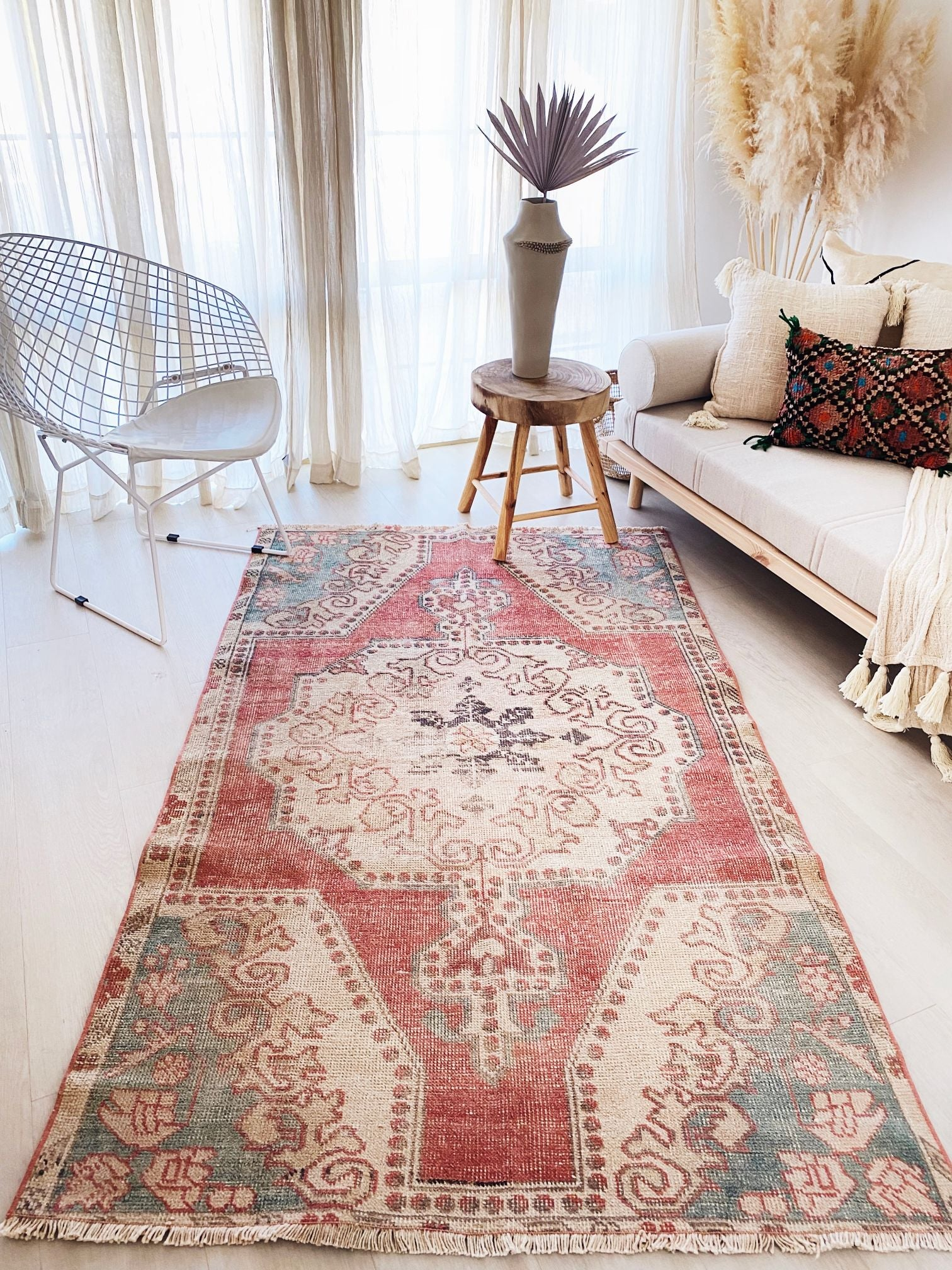 Sima Faded Red Blue Turkish One of A Kind Accent Rug