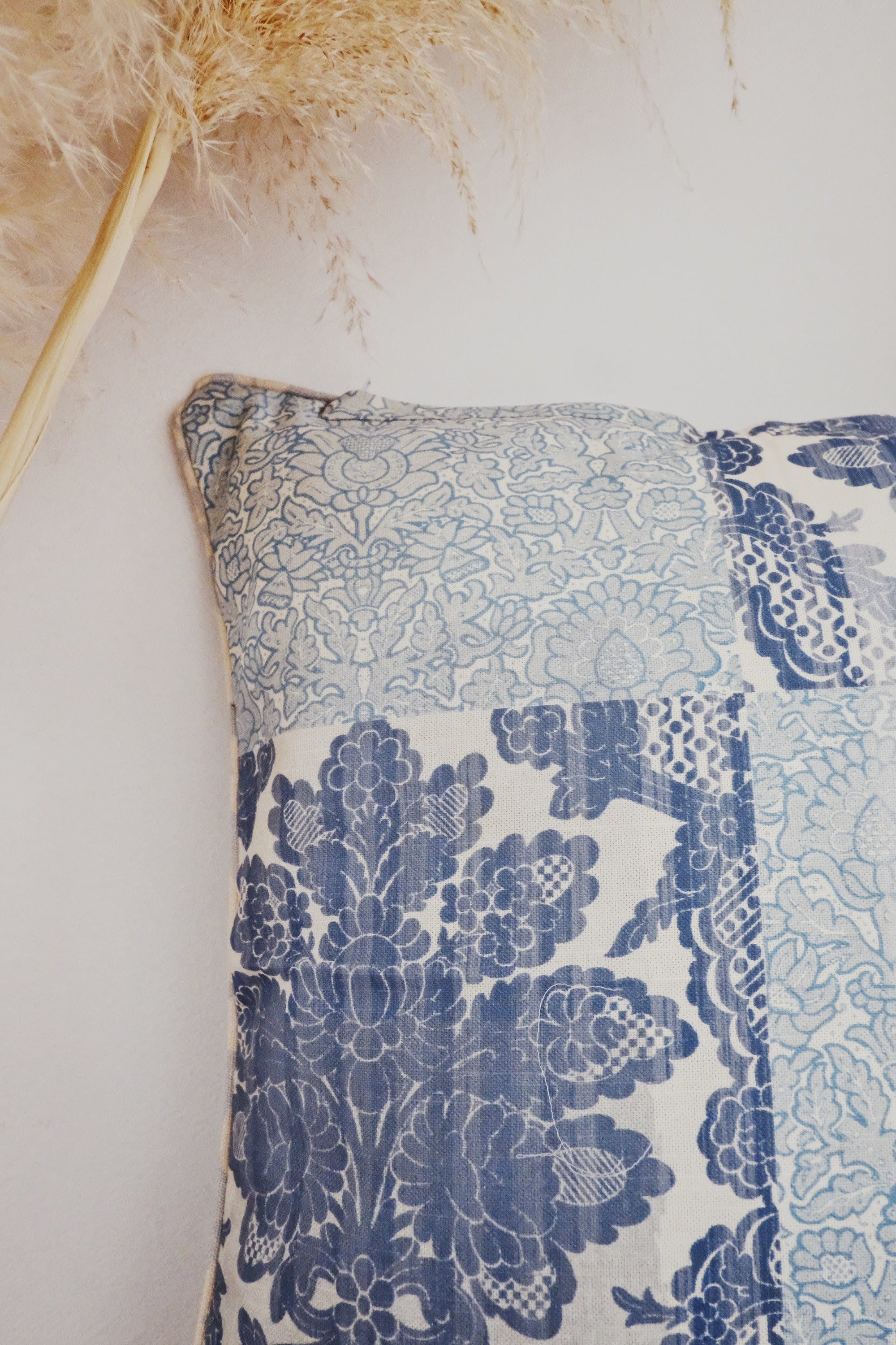 Siera Hand Block Printed Coastal Blue Linen Cushion Cover - Lustere Living