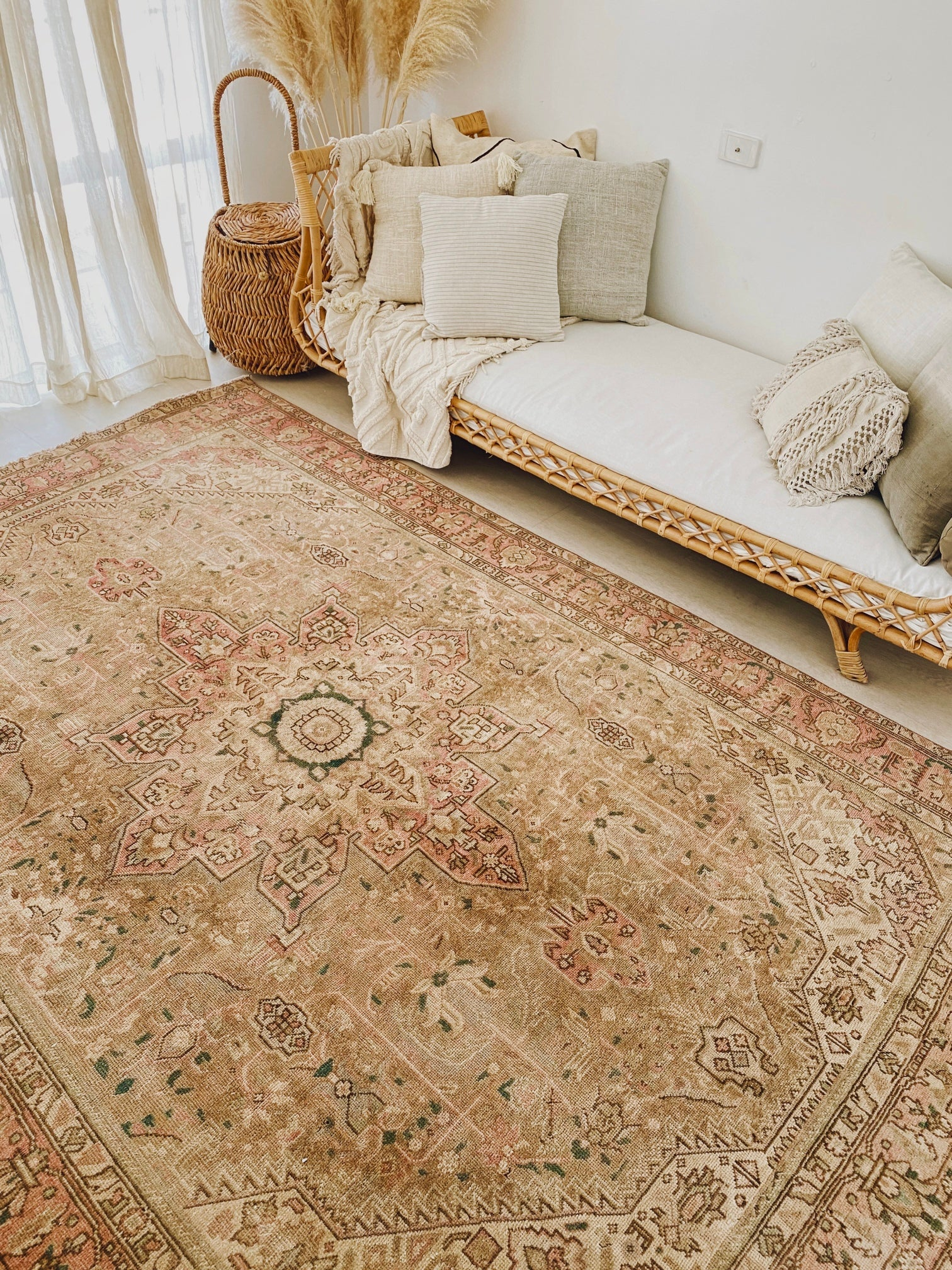 Manisa Oversized Blush Taupe Faded One of A Kind Turkish Rug - Lustere Living