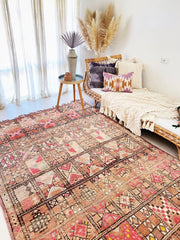 Eames Faded Blush Taupe Pink Vintage Boujad One Of A Kind Moroccan Rug