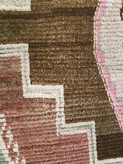 Sol Faded Brown Pink Handwoven Turkish Hallway Kitchen Runner Rug