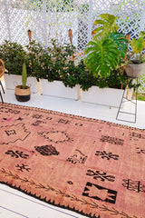Elsa Blush Purple Faded Vintage Oversized Moroccan Boujad One of A Kind Rug - Lustere Living
