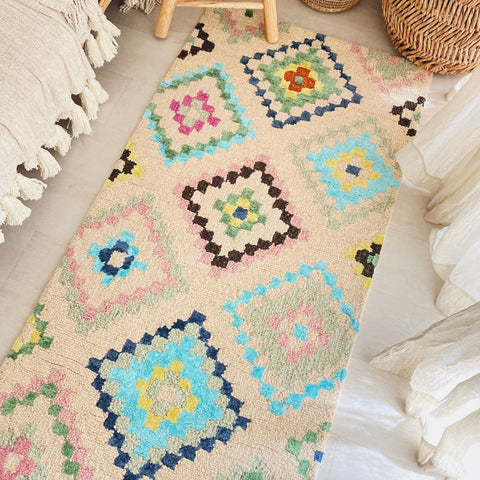 Wina Ivory Multicoloured Moroccan Hand tufted Berber Runner Rug - Lustere Living