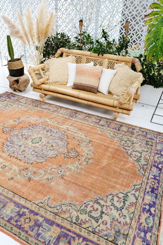 Kehlani Faded Peach Lavender Medallion Turkish Oushak Rug - Lustere Living