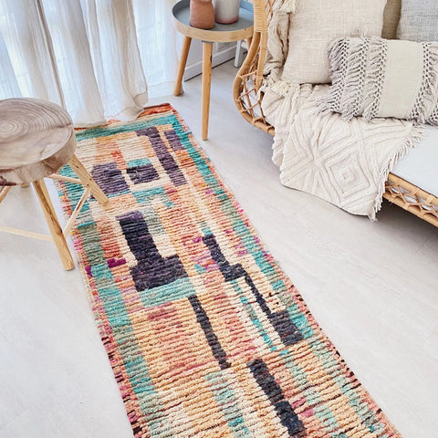 Eru Abstract One of a Kind Faded Pastel Moroccan Wool Runner Rug