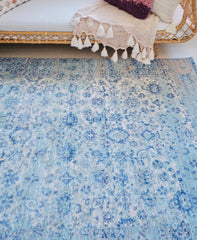 Hazel Sea Foam Blue Overdyed Soft Area Rug - Lustere Living