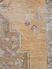 Salva Faded Apricot Taupe Medalion Turkish Vintage Runner Rug - Lustere Living
