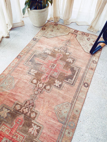 Deana Muted Blush Powder Blue Medallion Turkish Runner Rug