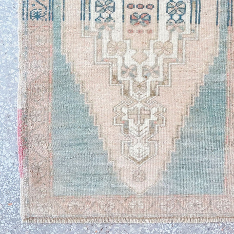 Mez Mini Faded Sea foam Pastel Peach Turkish One of A Kind Door Mat Rug