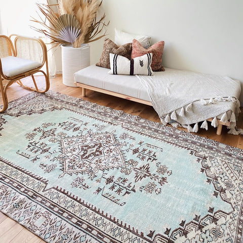 Wisnu Handwoven Faded Sea Foam Turkish Oversized Rug