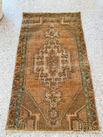 Mias Mini Muted Taupe Ochre Turkish One of A Kind Door Mat Rug