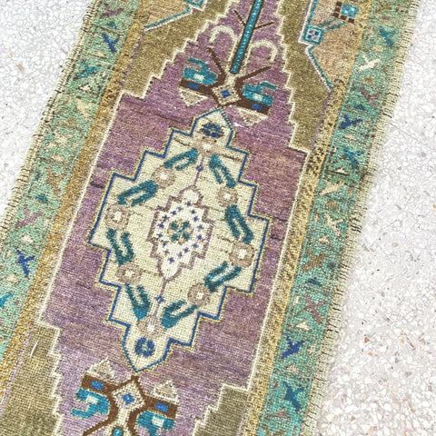 Utha Mini Sage Teal Lilac One of A Kind Door Mat Rug