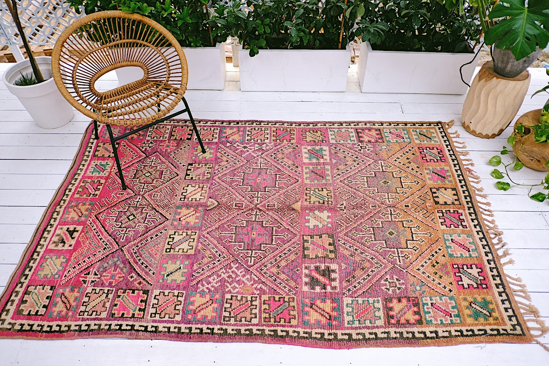 Electra Faded Fuchsia Vintage Moroccan Boujad One of A Kind Rug - Lustere Living