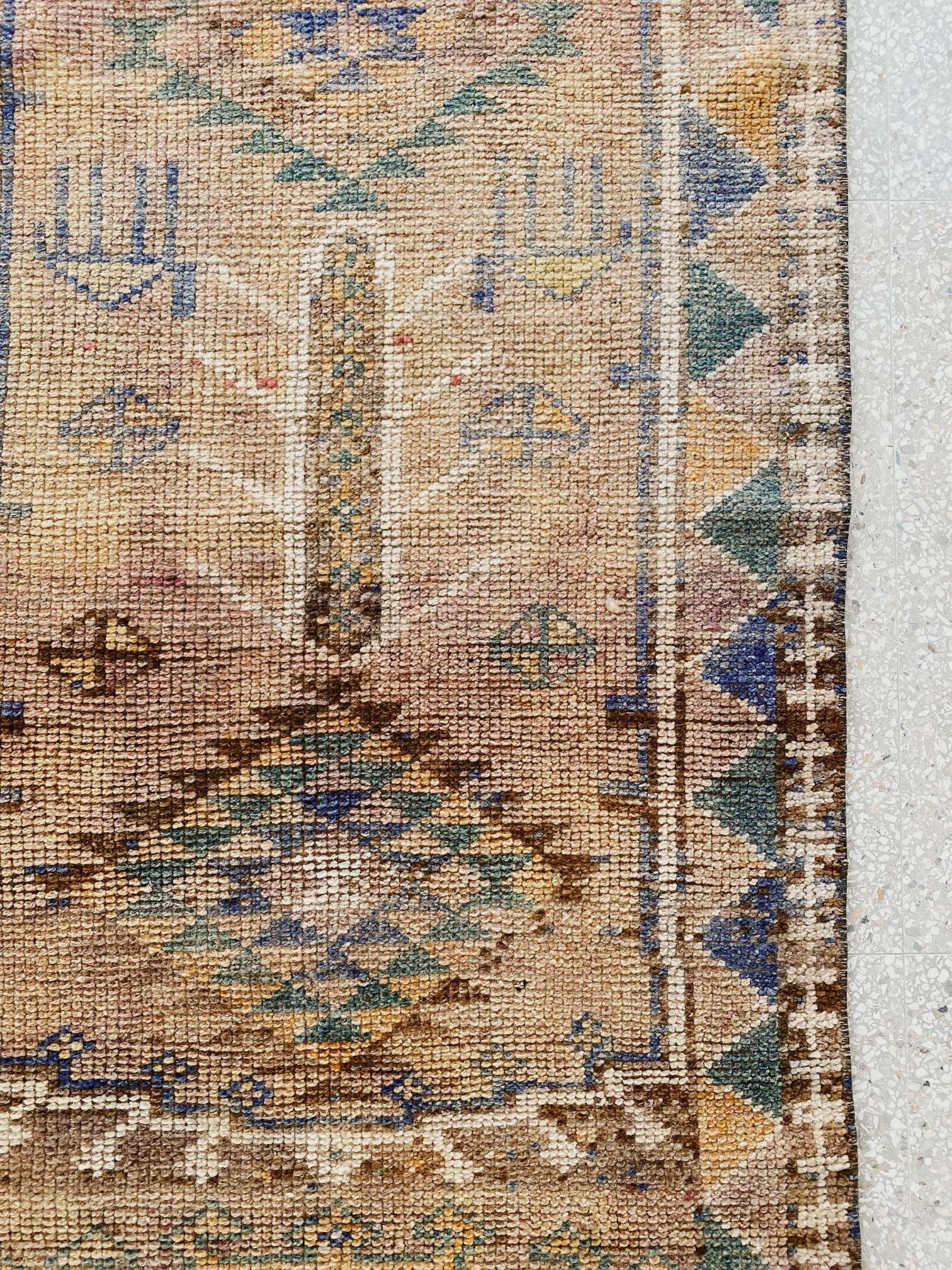 Anay Tribal Faded Taupe Muted Lilac Handwoven Turkish Hallway Kitchen Runner Rug