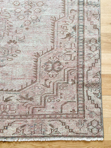 Rodo Faded Mint Muted Blush Medallion Turkish Oushak Rug