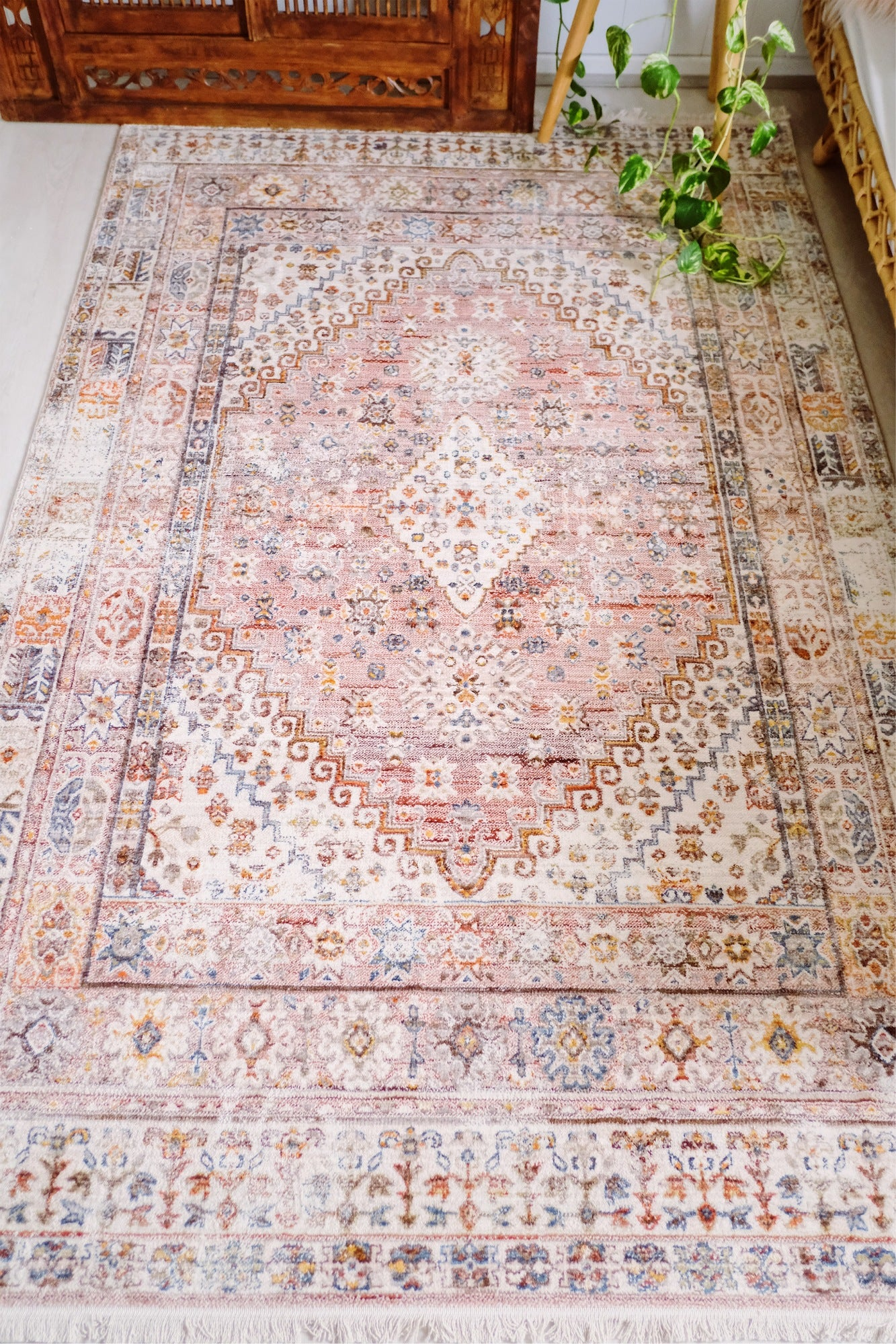 Komala Overdyed Blush Pink Turkish Rug - Lustere Living