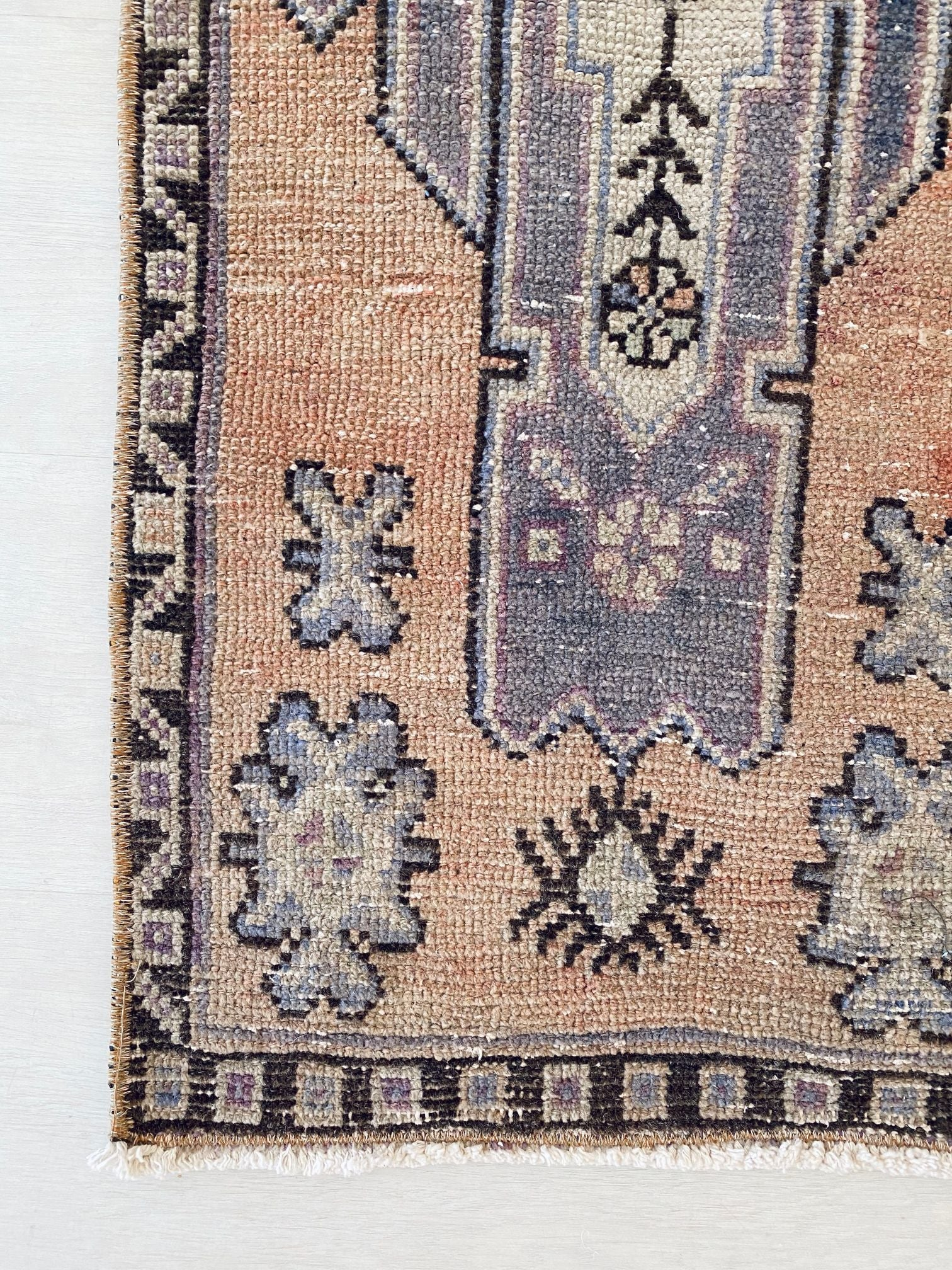 Sami Mini Faded Lavender Peach Turkish One of A Kind Door Mat Rug