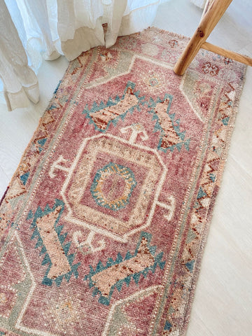Rach Mini Faded Blush Turquoise Turkish One of A Kind Door Mat Rug