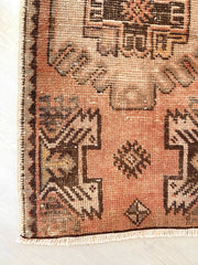 Filo Mini Burnt Washed Apricot Brown Turkish One of A Kind Door Mat Rug