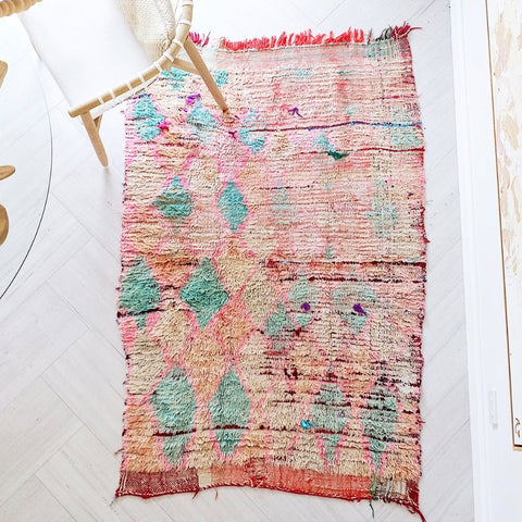 Kez Blush Faded Peach One Of A Kind Vintage Boujad Moroccan Rug - Lustere Living