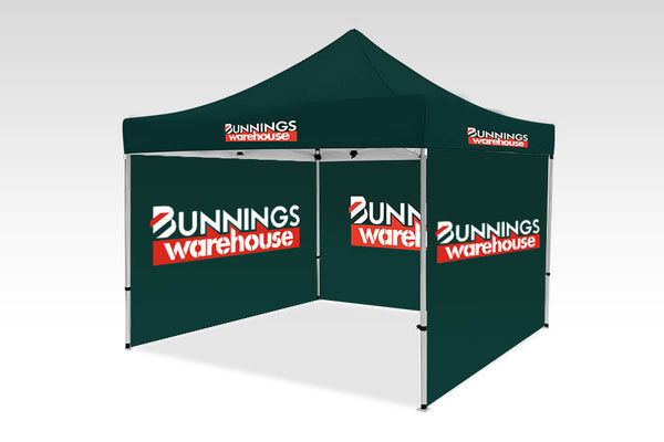 3000mm x 3000mm Pop-up Gazebo with Double Sided Sides & Single back (Displayed inside)