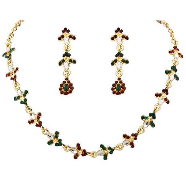 Tiptop Fashions  Red Austrian Stone Gold Plated Necklace Set  -  Imitation Jewellery - 1100217 - 11002