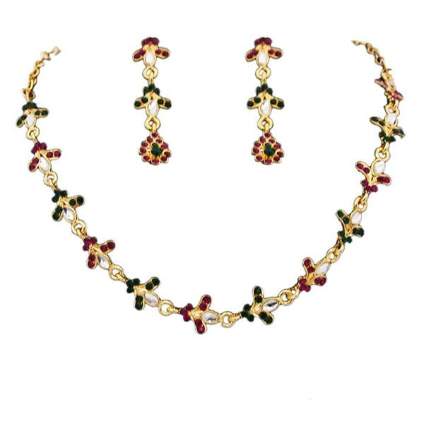 Tiptop Fashions  Maroon And Green Austrian Stone Necklace Set  -  Imitation Jewellery - 1100308 - 11003