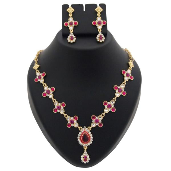 Tiptop Fashions  Pink Kundan Austrian Stone Meenakari Necklace Set  -  Imitation Jewellery - 1100332 - 11003