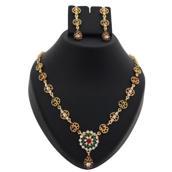 Tiptop Fashions  Maroon Austrian Stone Gold Plated Necklace Set  -  Imitation Jewellery - 1100339 - 11003