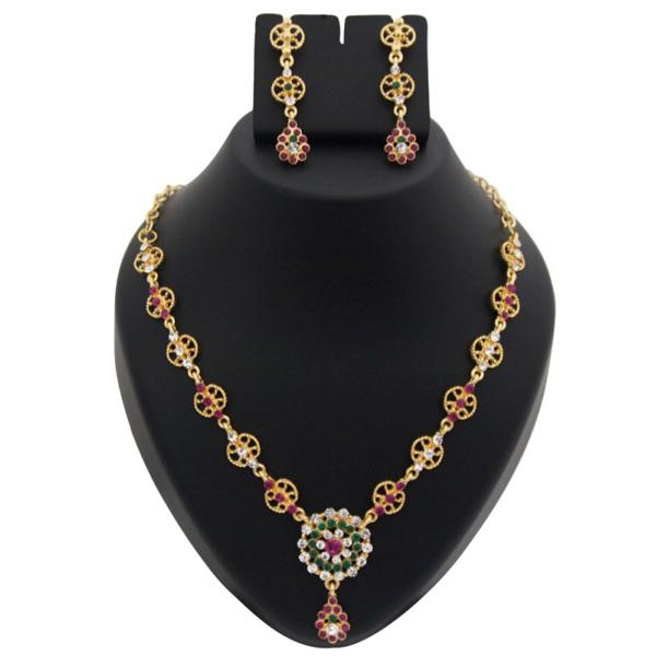 Tiptop Fashions  Pink And Green Austrian Stone Necklace Set  -  Imitation Jewellery - 1100341 - 11003