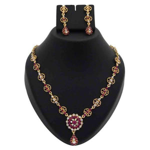 Tiptop Fashions  Pink Austrian Stone Floral Design Necklace Set  -  Imitation Jewellery - 1100342 - 11003