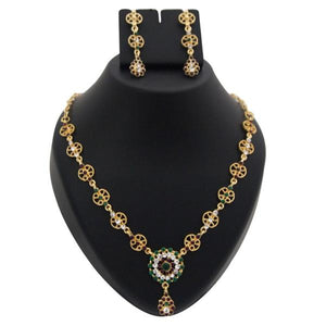 Tiptop Fashions  Green Austrian Stone Gold Plated Necklace Set  -  Imitation Jewellery - 1100343 - 11003