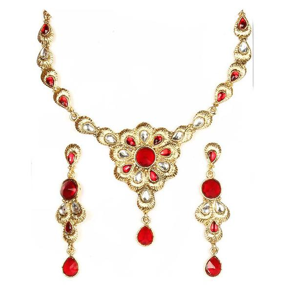 Tiptop Fashions  Red Kundan Stone Floral Design Necklace Set  -  Imitation Jewellery - 1100507 - 11005