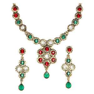 Tiptop Fashions  Red Austrian Stone Gold Plated Necklace Set  -  Imitation Jewellery - 1100513 - 11005