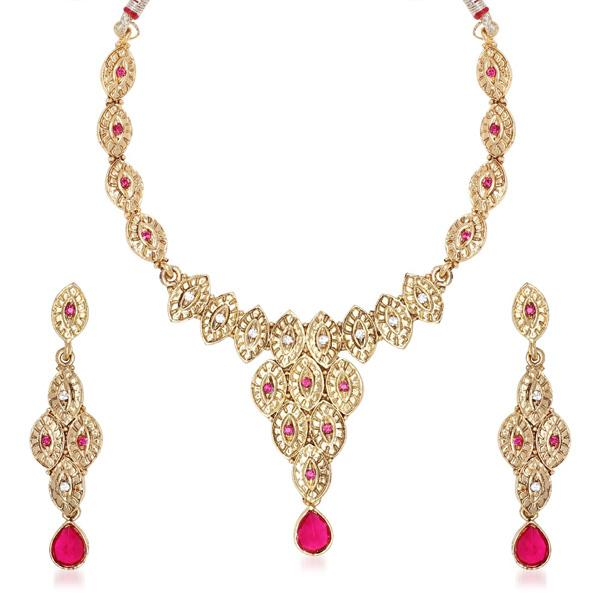 Tiptop Fashions  Pink Drop Austrian Stone Gold Plated Necklace Set  -  Imitation Jewellery - 1100529 - 11005