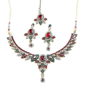 Tiptop Fashions  Red Austrian Stone Necklace Set With Maang Tikka  -  Imitation Jewellery - 1100602 - 11006