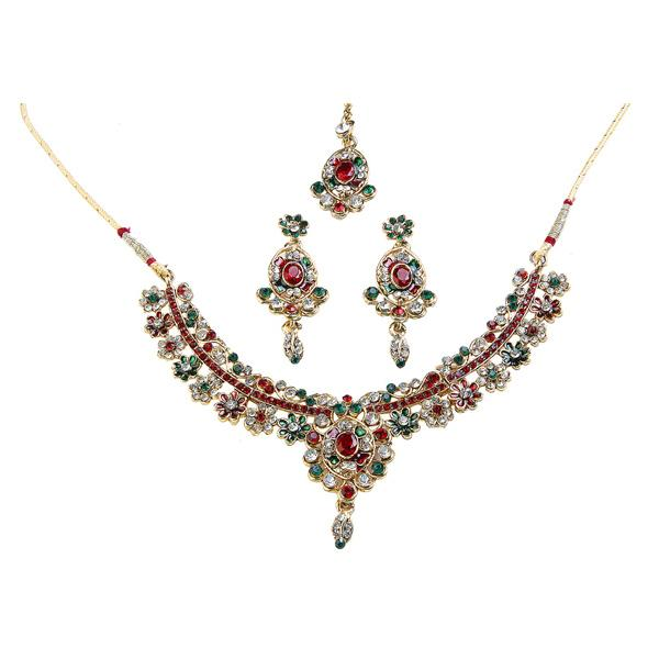 Tiptop Fashions  Meenakari Austrian Stone Necklace Set With Maang Tikka - Tiptop Fashions