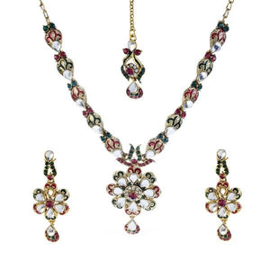 Tiptop Fashions  Green Austrian Stone Necklace Set With Maang Tikka  -  Imitation Jewellery - 1100608 - 11006
