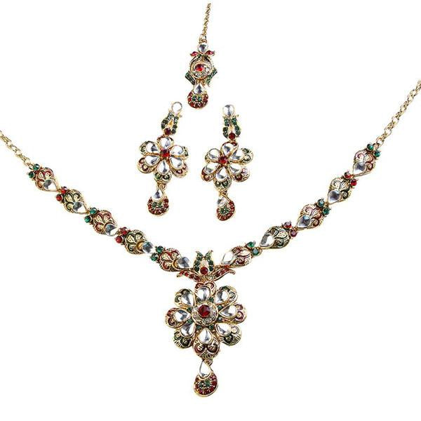 Tiptop Fashions  Red Meenakari Austrian Stone Necklace Set  -  Imitation Jewellery - 1100609 - 11006