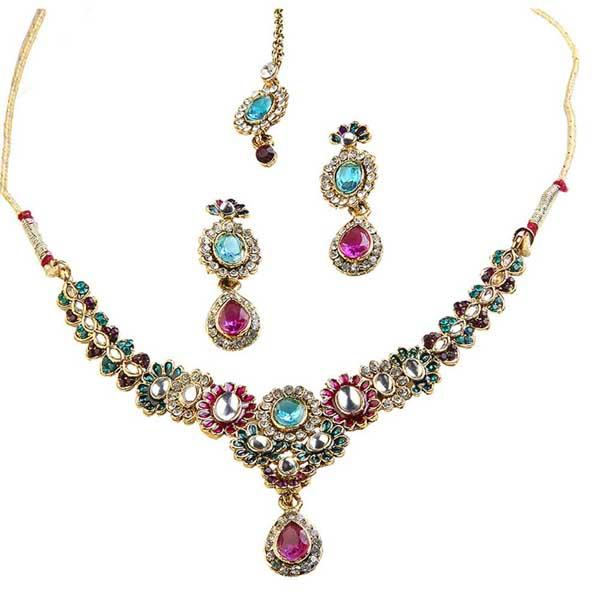 Tiptop Fashions  Pink Austrian Stone Gold Plated Necklace Set  -  Imitation Jewellery - 1100611 - 11006