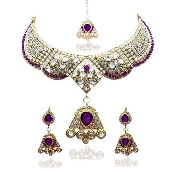 Tiptop Fashions  Gold Plated Purple Austrian Stone Necklace Set  -  Imitation Jewellery - 1100613 - 11006