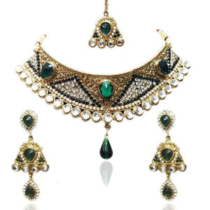 Tiptop Fashions  Green Austrian Stone Necklace Set With Maang Tikka  -  Imitation Jewellery - 1100617 - 11006